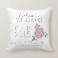 Purple Flowers Baby Birth Announcement Throw Pillow | Zazzle
