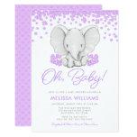 Purple Flowers Elephant Girl Baby Shower Invites