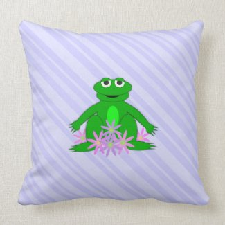 Purple: Frog On A Spring Day: Throw PIllow