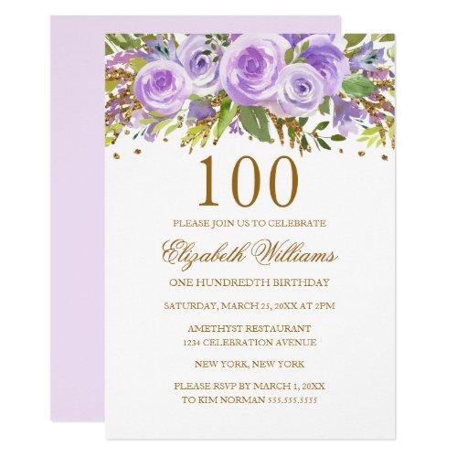 Purple Gold Floral Rose 100th Birthday Invitation