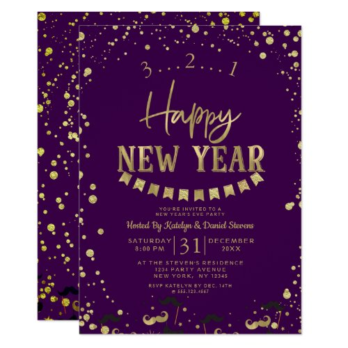 Purple & Gold Foil Confetti New Year's Eve Party Invitation