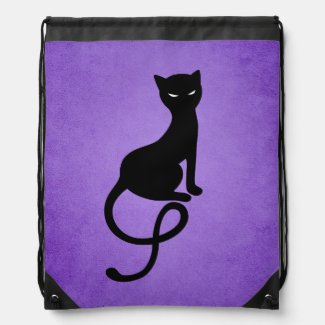 Plotting Black Cat Drawstring Backpack
