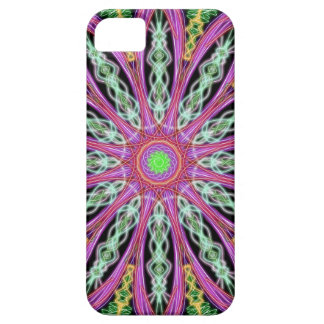 Purple Green and Black Abstract Kaleidoscope Art iPhone 5 Case