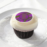 Purple Green Color Swish Abstract Edible Frosting Rounds