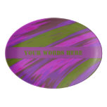 Purple Green Color Swish Abstract Porcelain Serving Platter