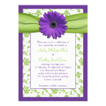 Purple Green Daisy Damask Wedding Invitation