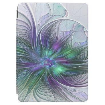 Purple Green Flower Modern Abstract Art Fractal iPad Air Cover