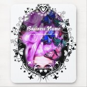 purple hair butterfly lady mousepad