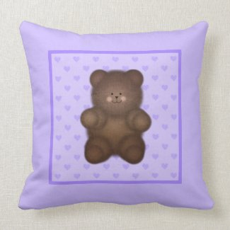 Purple Hearts and Teddy Bear Throw Pillow