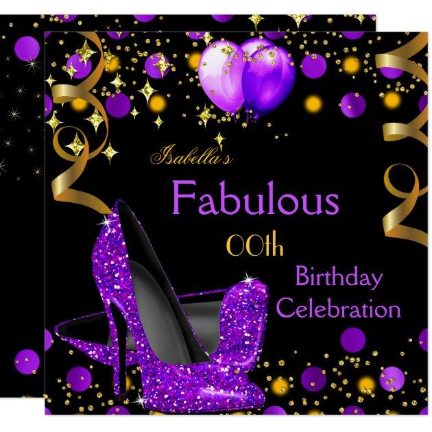 purple high heels gold balloons