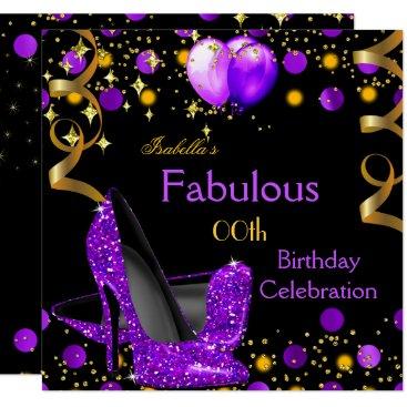 Purple High Heels Gold Balloons Birthday Party Invitation