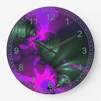 Purple Imp Abstract Fractal Violet Magenta Ribbons Wall Clock