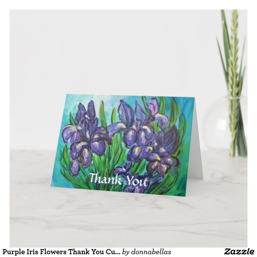 Purple Iris Flowers Thank You Custom Greeting Card