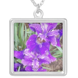Purple Iris with Water Droplets Necklace necklace