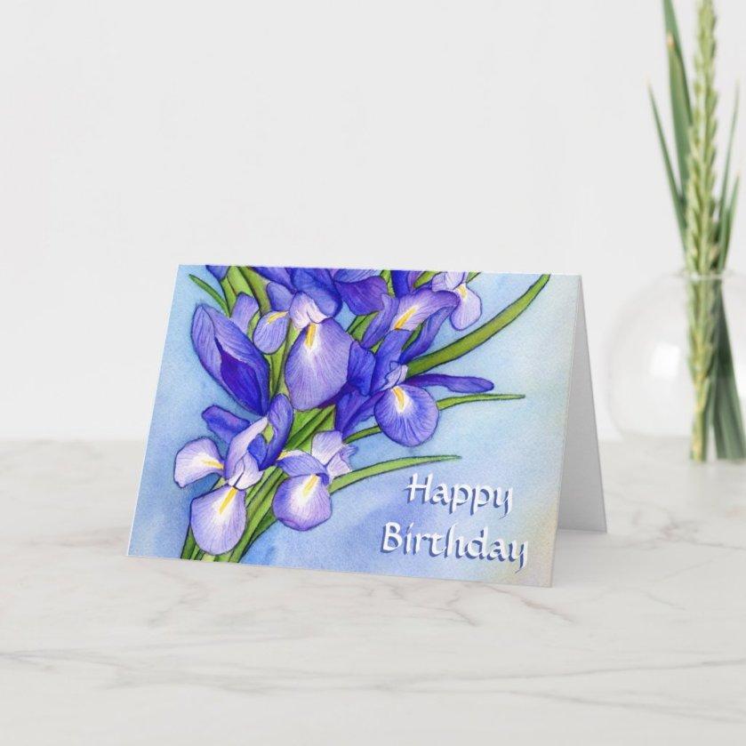 Purple Irises Happy Birthday Art Greeting Cards