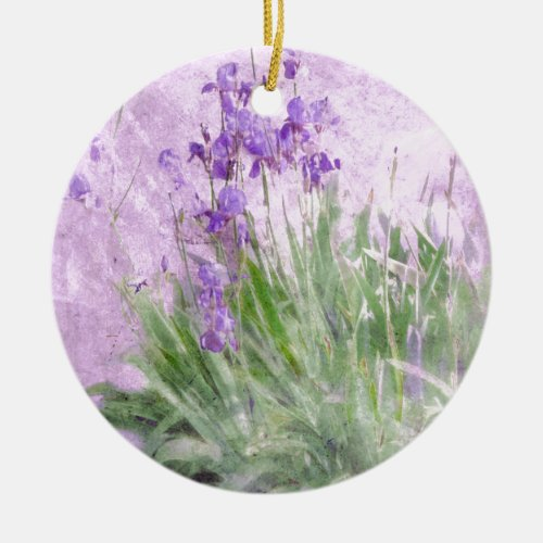 Purple Irises Watercolor - Ceramic Ornament