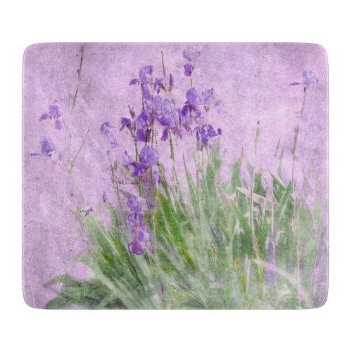 Purple Irises Watercolor - Cutting Board
