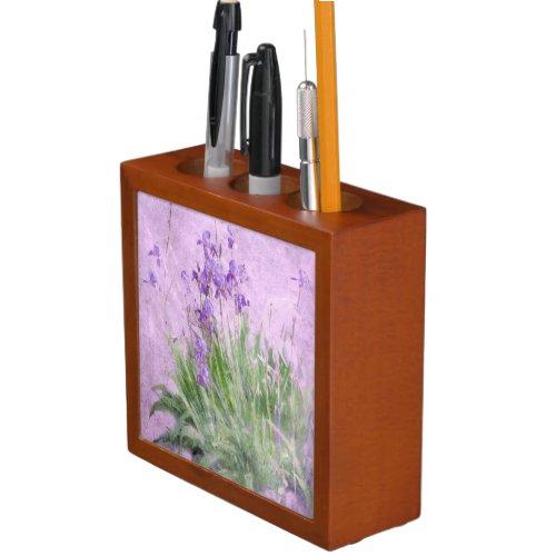Purple Irises Watercolor - Desk Organizer