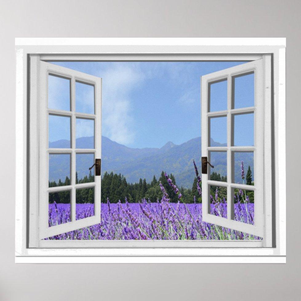 Purple Lavender Meadow Garden View Fake Window Poster