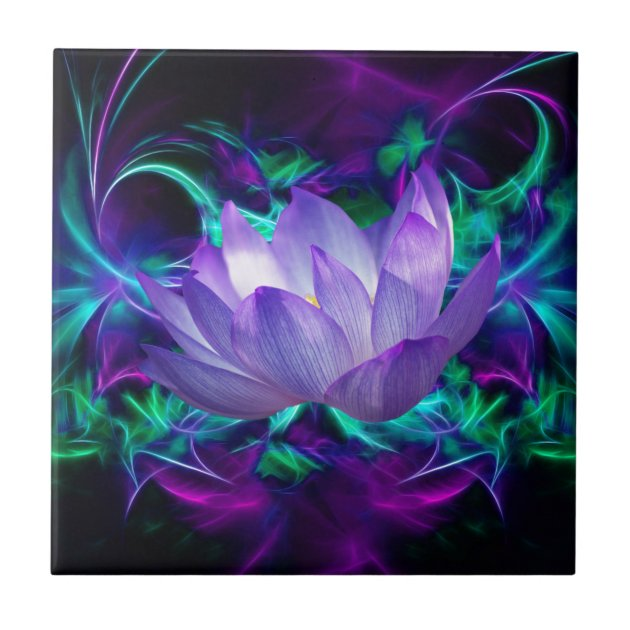 Purple lotus flower and its meaning ceramic tile   Zazzle.com