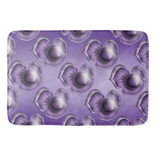 Purple Marble Floral Bathroom Mat