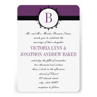 Purple Monogram Wedding Invitation