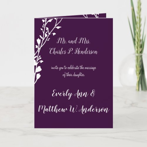 Purple or any color Floral Wedding Invitation