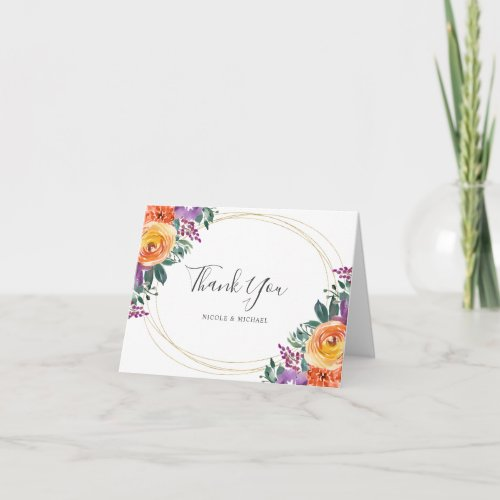 Purple Orange Watercolor Floral Thank You Card