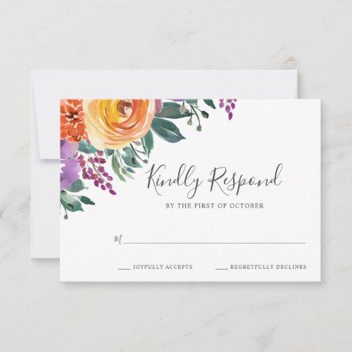Purple Orange Watercolor Floral Wedding RSVP Card