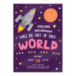 ❤️ Purple Out Of This World Birthday Party Invitation