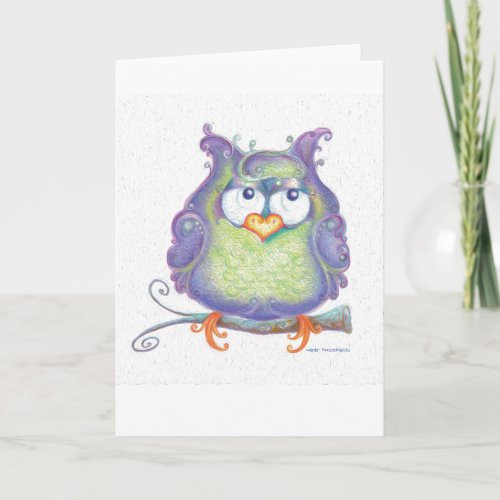 Purple Owl Greeting Card