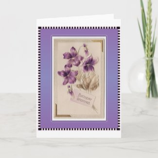 Purple Pansy Victorian Birthday Greetings Greeting Cards