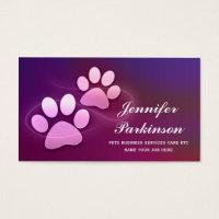 purple pet paws business cards