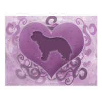 Purple Portuguese Sheepdog Valentine Postcard
