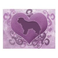 Purple Portuguese Sheepdog Valentine Postcard