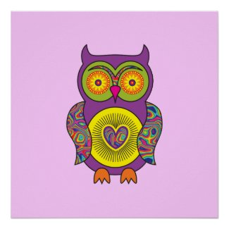 Purple Psychedelic Owl print