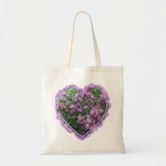 Purple Rose Heart Canvas Bags