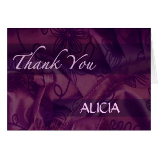 Purple Silk and Satin Thank You Greeting Card