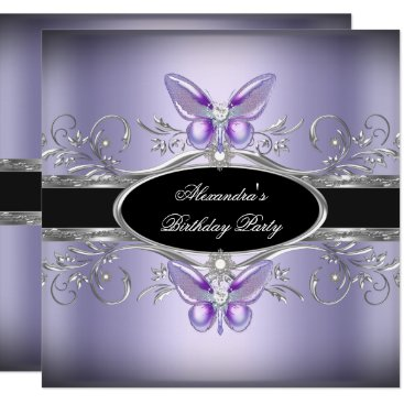 Purple Silver Black Jewel Butterfly Birthday Party Invitation