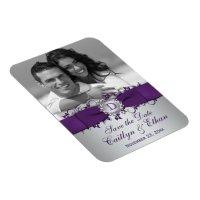 Purple, Silver Floral Save the Date Photo Magnet | Zazzle.com