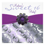 Purple Sweet 16 Birthday Party Personalized Announcements