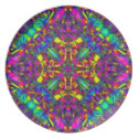 Purple Turquiose and Yellow Mandala Pattern fuji_plate