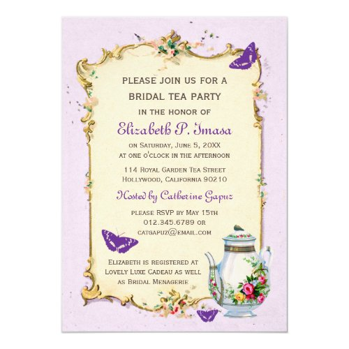 Purple Vintage French Bridal Tea Party Invitation