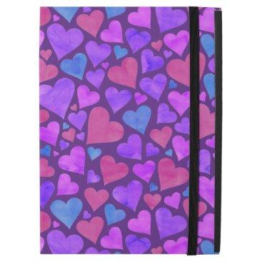 "Purple Watercolor Hearts iPad Pro 12.9"" Case"