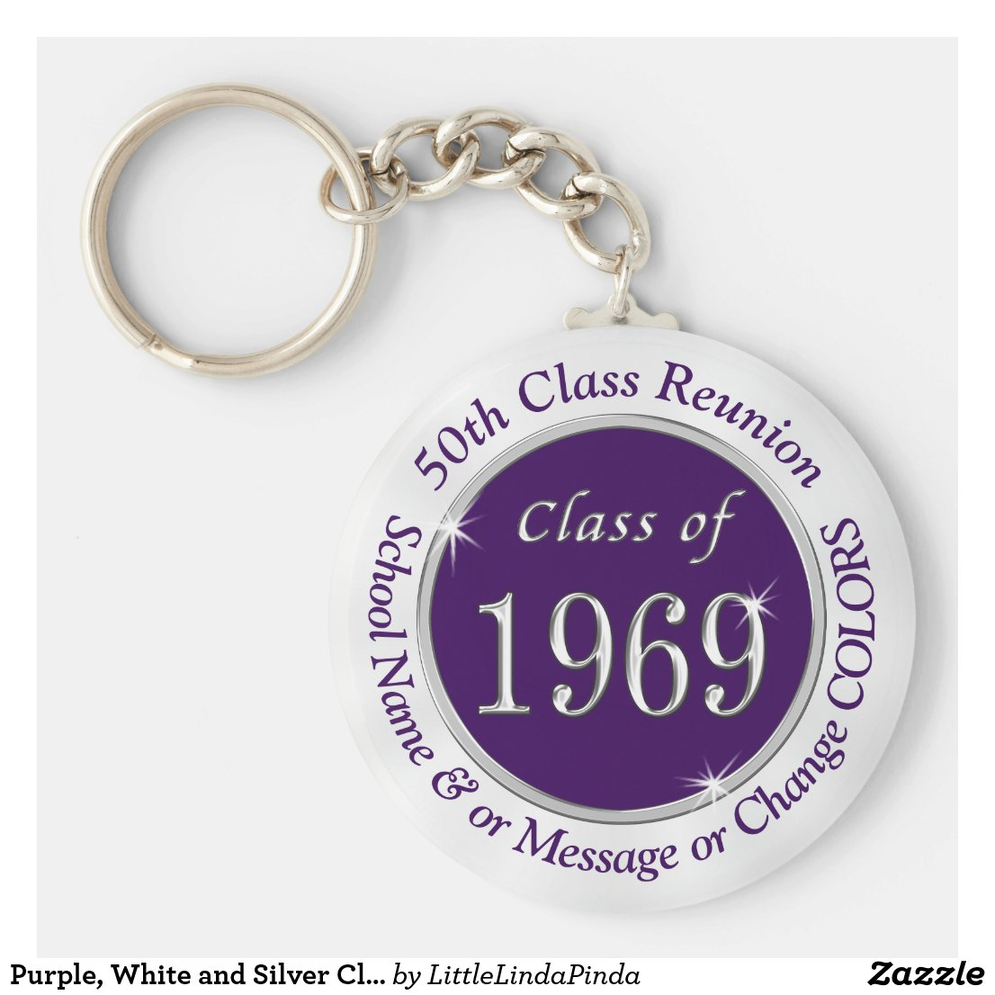 Purple, White and Silver Class of 1969 Gift Ideas Keychain