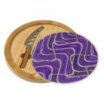 Purple White Pattern Design Round Cheese Board