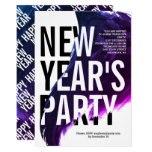 Purple, white watercolor New Year's Eve party Invitation