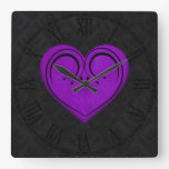 Purple Wooden Rustic Grunge Heart Square Wall Clock