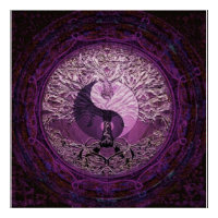 Purple Yin Yang with Tree of Life Poster