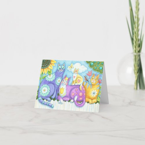 PURRFECT FELINE FRIENDS, CAT NOTE CARD Blank